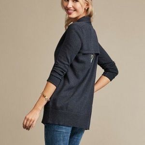 CAbi Navy Cut Out Open Back Knit Cardigan Sweater